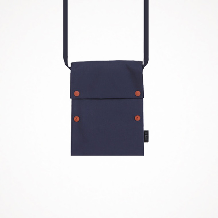 two button book pouch cross - navy