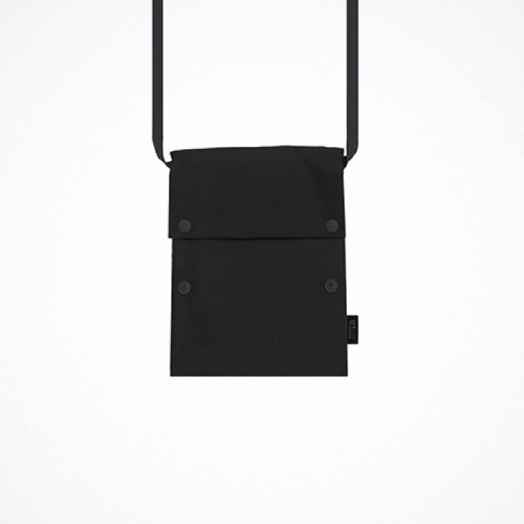 two button book pouch cross - black