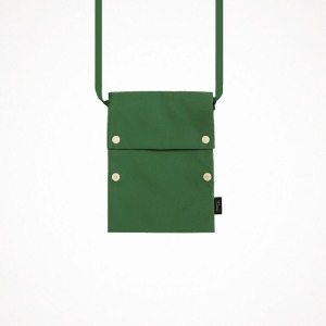 two button book pouch cross - forest green