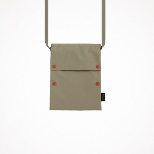 two button book pouch cross - oatmeal