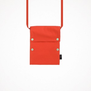 two button book pouch - flame orange